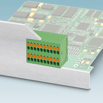 Double-row PCB terminal block with high connection density