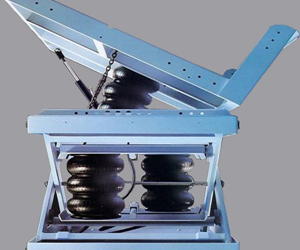 A scissor lift actuated by air springs