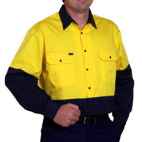 Ventilated 2-tone Cotton Drill Work Shirt - NC 375