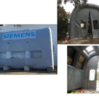 Custom designed inflatable blast booth used by Siemens